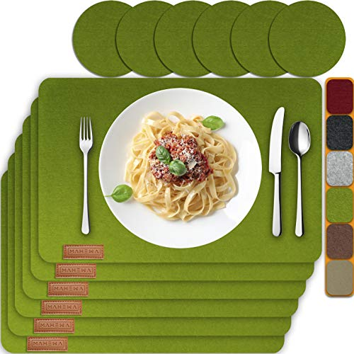 MAHEWA 6er Set Premium Tischset Platzset aus Filz...