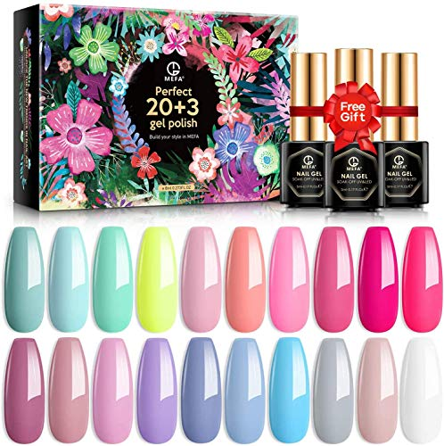 MEFA Gel Nagellack Set 20 Farben, Pink Nude Gel...