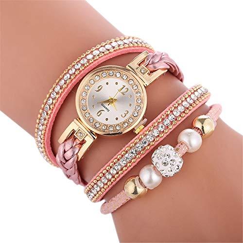 Uhren D249 Woven Verdrehte Perlen Runde analoge...