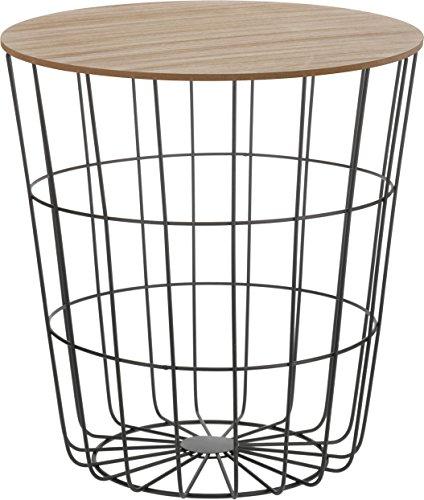 Design Beistelltisch - Metall Korb mit Holz Deckel...