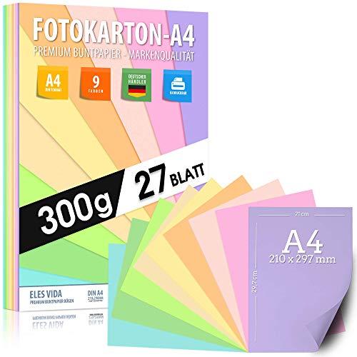 Buntes Papier Pastell Fotokarton DIN A4 – 300g -...