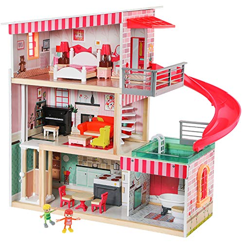 TOP BRIGHT Puppenhaus mit Möbeln und Puppen,...