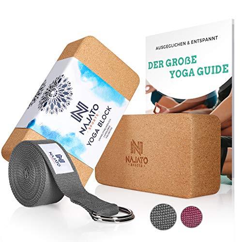 NAJATO Sports Yoga Block Kork 2er Set – Mit Yoga...