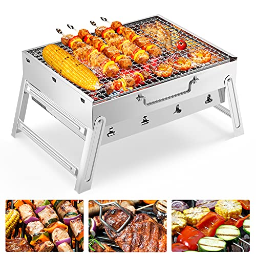 FISHOAKY Portable Grill, Rauch BBQ Holzkohlegrill...