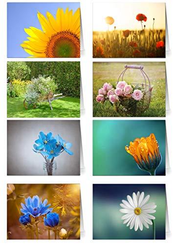 48 Grußkarten Blumen Klappkarten mit 48...