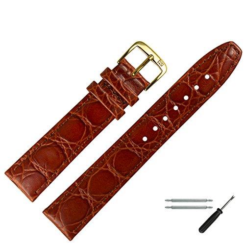 MARBURGER Uhrenarmband 20mm Leder Braun Kroko -...