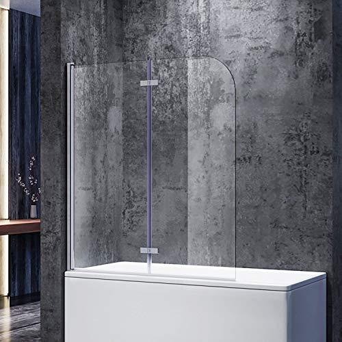 SONNI Duschwand für Badewanne 120x140 cm(BxH)...