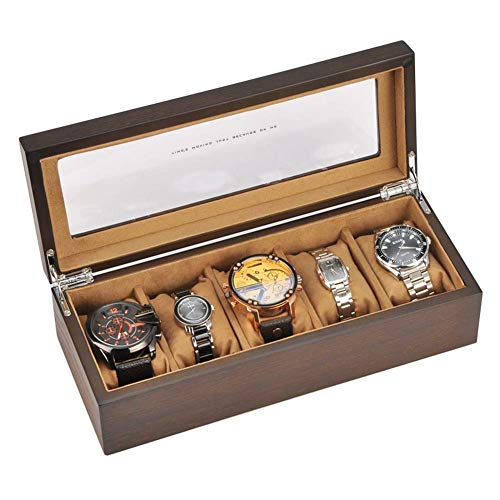 XBSXP Wooden Watch Box, 5 Slot Wood Watch Case...