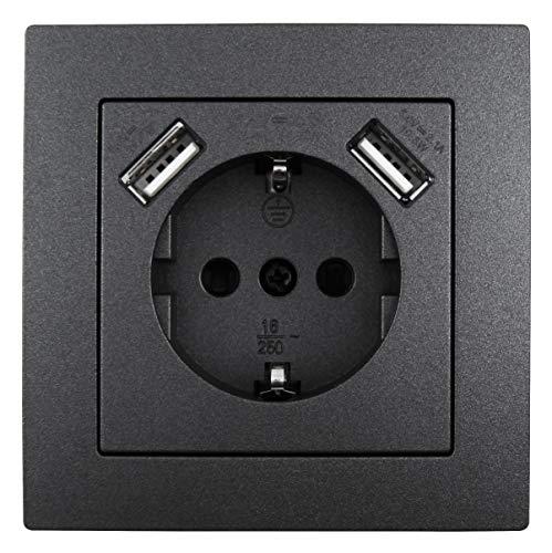 MC POWER - Schutzkontakt-Steckdose mit 2x USB |...