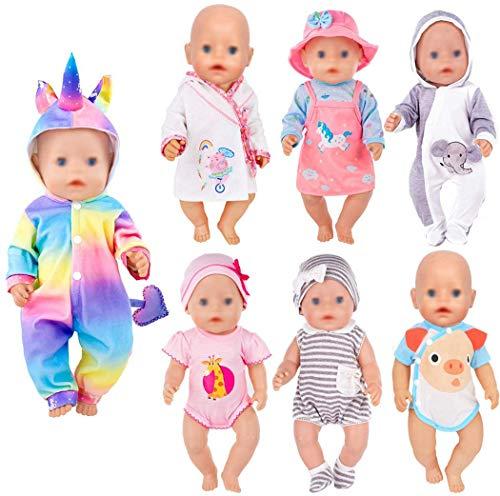 ebuddy 7 Sätze Puppenkleidungszubehör für 43 cm...