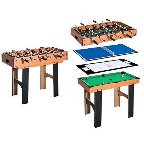 HOMCOM 4 in 1 Multi Spieltisch Tischkicker...