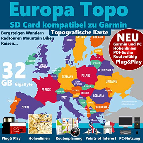 ►Europa Karte 32GB micro-SD-Card Class 10 GPS...