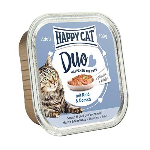 Happy Cat Pate auf Häppchen Rind & Dorsch, 12er...