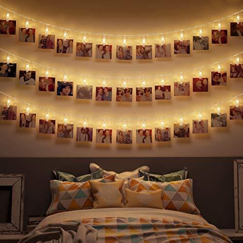 B.K.Licht I 5 Meter LED-Lichterkette mit Klammern...