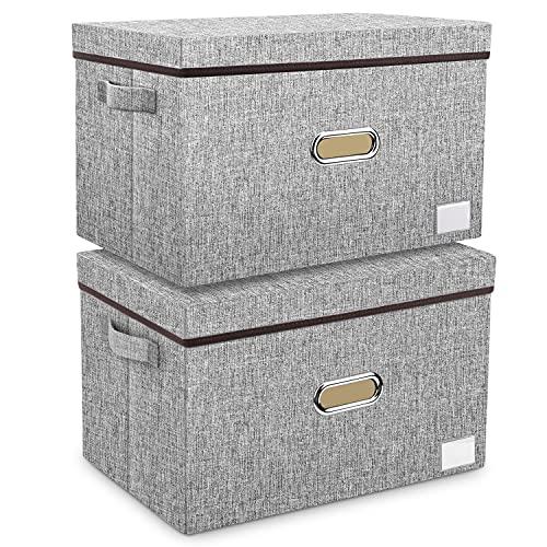 Aufbewahrungsbox mit Deckel Groß aus Stoff 2er...