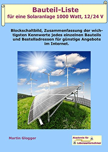 Bauteil-Liste für eine Solaranlage 1000 Watt,...