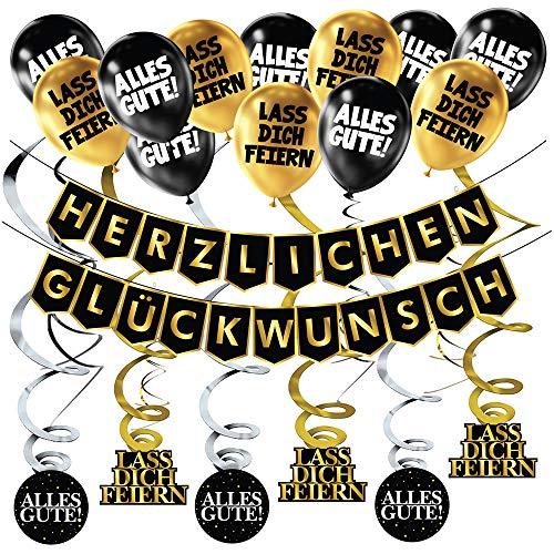 Geburtstags-Banner Schwarz Gold Party Dekoration...