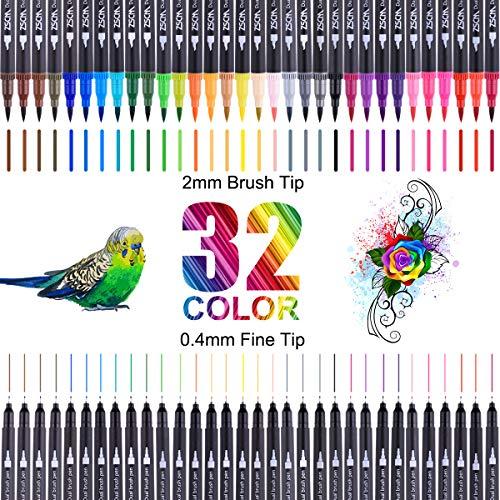 Dual Brush Pen Set,Brush Pen Set Pinselstifte, 32...