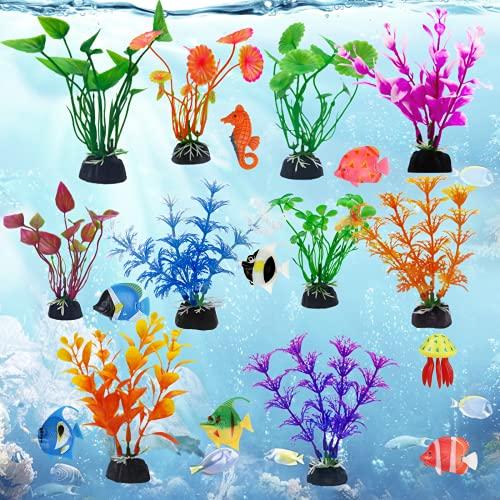 MEZOOM 18Stk Plastikpflanzen für Aquarien,...