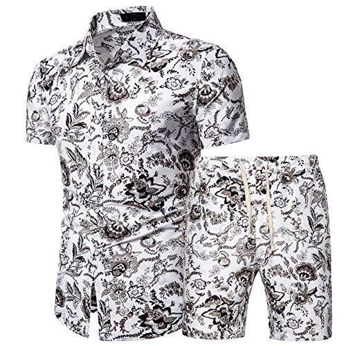 ZYUD Herren Blumen Kurzarm Hawaii Hemd Shorts Set...