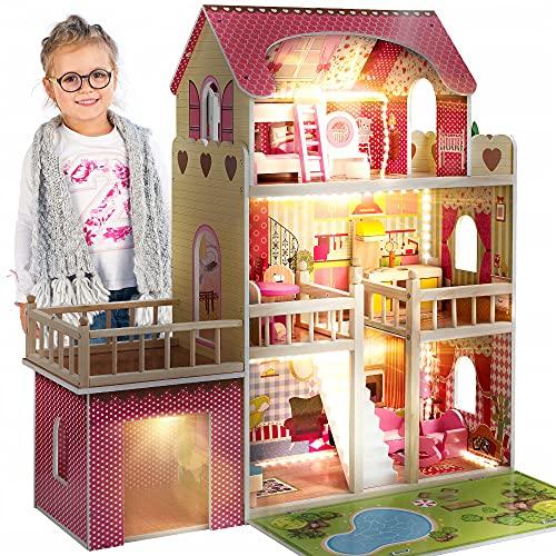 Kinderplay Puppenhaus Holz Gross, Puppenvilla,...