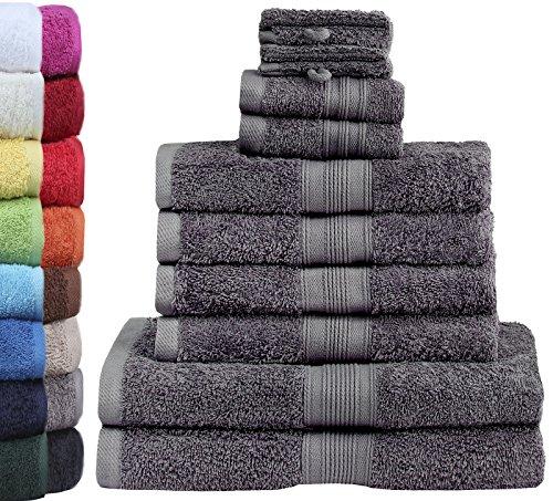 GREEN MARK Textilien 10 TLG. FROTTIER Handtuch-Set...