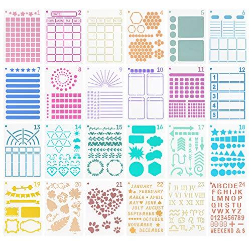 24 Stück Journal Zubehör Schablonen Set, Plastic...