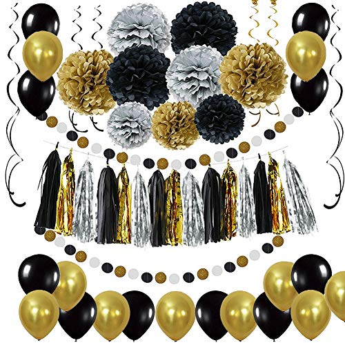 LyximGss Schwarz Gold Party Deko Set - DIY Pompoms...