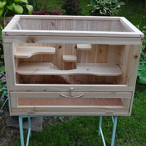 Melko Kleintierkäfig aus Holz, 60 x 35 x 42 cm,...