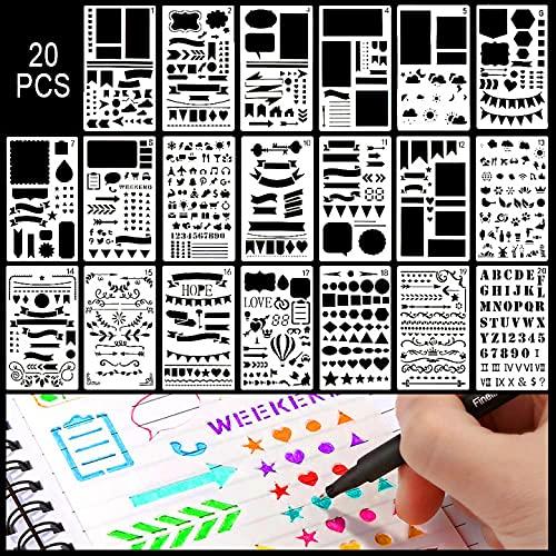 Schablonen Set, 20 Stück Zeichenschablonen Set...