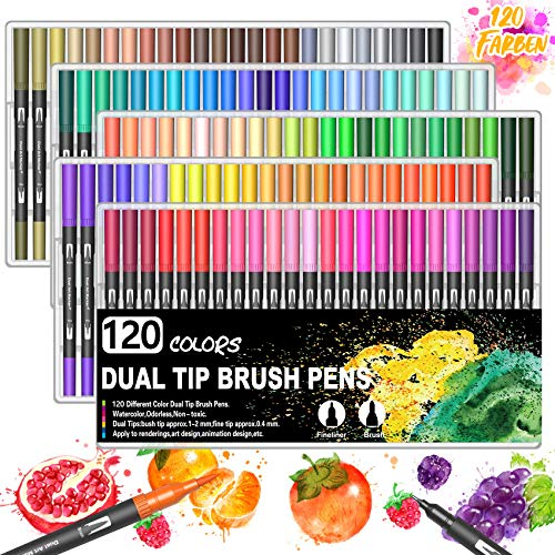 BOIROS 120 Farbe Filzstifte, Dual Brush Pen Set...