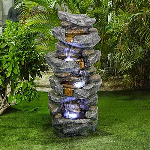 WATURE Rockery Outdoor Wasserfall Gartenbrunnen -...