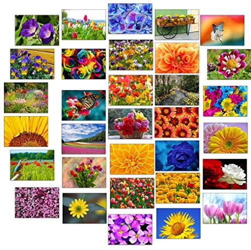 32 Grußkarten bunte Blumen Klappkarten mit 32...
